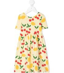 mini rodini cherry lemonade long dress - yellow
