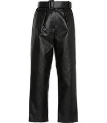self-portrait eco leather trousers