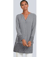 blouse alba moda zwart::grijs::wit