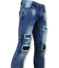 new stone biker jeans heren met rits blauw