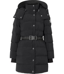 black belted puffer jacket