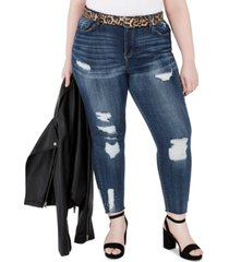 dollhouse trendy plus size distressed belted skinny jeans