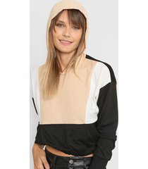 sweater beige destino collection capucha tricolor