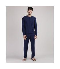 pijama masculino manga longa gola portuguesa azul marinho