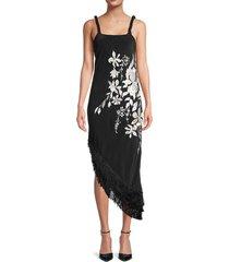 johanna ortiz women's embroidered-floral silk midi dress - black white - size 0