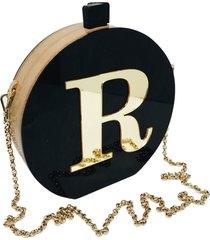 bolsa clutch black inicial dourada personalizada - tricae