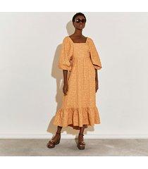 river island womens beige exaggerated sleeve shirred maxi dress