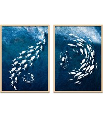 quadro 67x100cm urak oh10 peixes brancos decorativo moldura natural com vidro