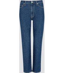 mom fit straight jeans - mörkblå