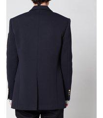 balmain men's six button jersey badge blazer - marine - 50/l