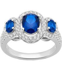 0.1ctw sapphire & sim. diamond 14k white gold finish wedding engagement ring