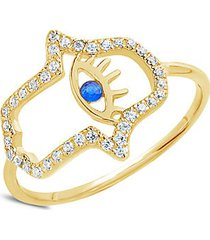14k goldplated sterling silver & cubic zirconia hamsa ring