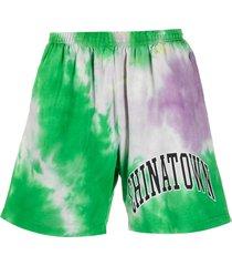 chinatown market tie-dye-print track shorts - green