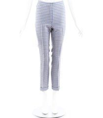 christian dior blue plaid wool silk cropped pants blue/cream sz: xs