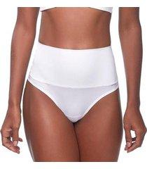 calcinha changerie hot pant cintura alta branco fio dental feminina - feminino