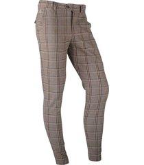 ferlucci heren pantalon stretch stone check geblokt paulo - bruin