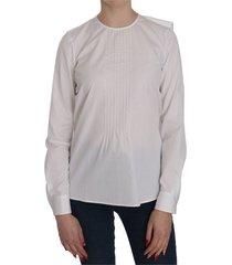 crew neck long sleeve cotton blouse