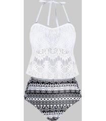 plus size lace overlay geometry tankini swimwear