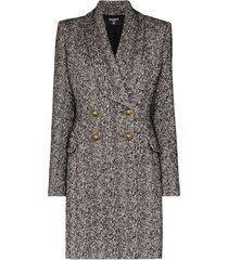 balmain double-breasted mid-length coat - grey