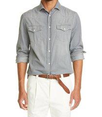brunello cucinelli leisure fit denim western shirt, size medium in grey at nordstrom