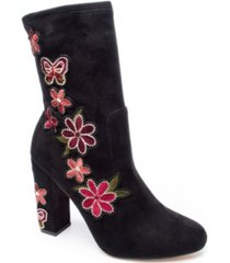 chinese laundry women's bombshell embroidered block heel booties women's shoes