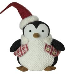 "northlight 18"" large plush penguin in red nordic snowflake vest christmas figure"