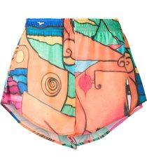 esteban cortazar beach-print mini shorts - orange