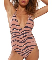 one-piece striped plunge maillot