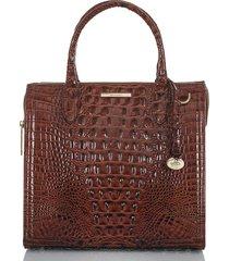 brahmin caroline croc embossed leather satchel - brown