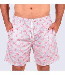 short praia slim flamingo masculino