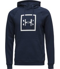 rival fleece logo hoodie hoodie trui blauw under armour