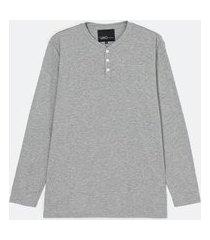 camiseta manga longa com gola henley | viko | cinza | m