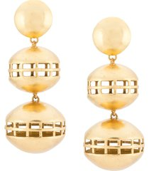 josie natori double cage clip-on earrings - gold