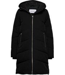 elevated down long l gevoerde lange jas zwart calvin klein