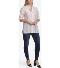 vince camuto women's long sleeve tonal stripe roll tab henley blouse