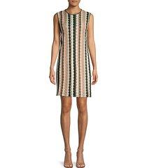 striped crochet shift dress