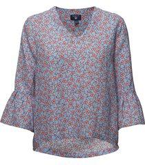o2. linked floral top blouse lange mouwen blauw gant