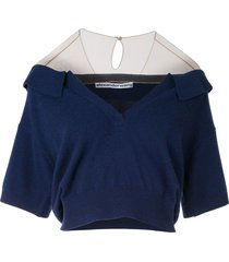 alexander wang relaxed polo sweater - blue