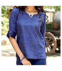 cotton ikat tunic, 'indigo raindrop' (india)