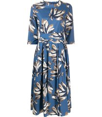 's max mara floral print flared style dress - blue