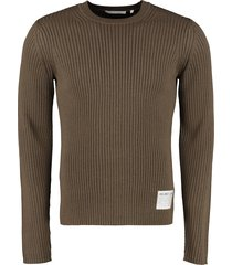 helmut lang ribbed crew-neck pullover