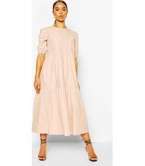 cotton tiered midi smock dress, sand
