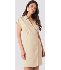 trendyol double breasted collar dress - beige