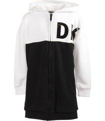 cotton blend zip-up sweatshirt dress with hood