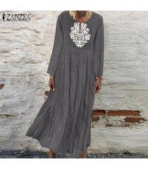 zanzea de mujeres con cuello en v casual impresión floral larga camisa de vestir de gran tamaño kaftan vestido a media pierna -gris