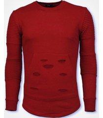 sweater justing ribbel schoulder damaged pocket