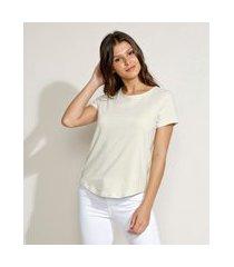 blusa feminina básica longa manga curta decote redondo bege claro