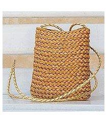 golden grass sling bag, 'braided sunshine' (brazil)