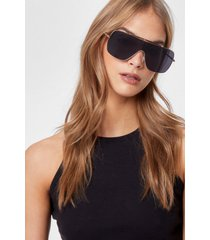 womens cry about it aviator oversized sunglasses - black