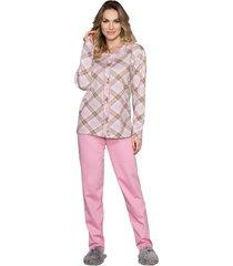 pijama vincullus manga longa com abertura frontal rosa - rosa - feminino - dafiti